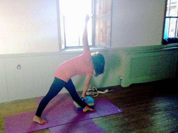 Doing yoga in Sennen hall