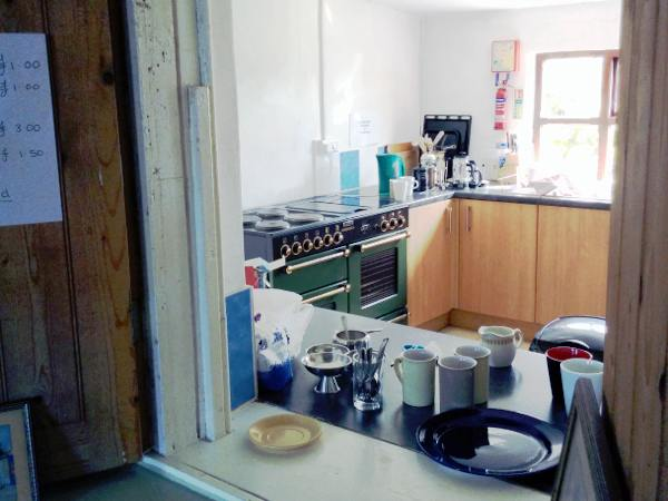 View of kitchen and servery at Sennen